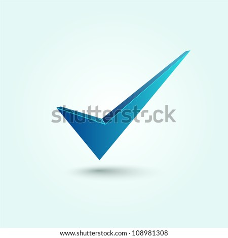 Blue check mark symbol isolated on blue background. - stock vector