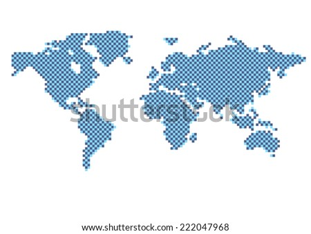Blue Checkered Map of the World - Concept