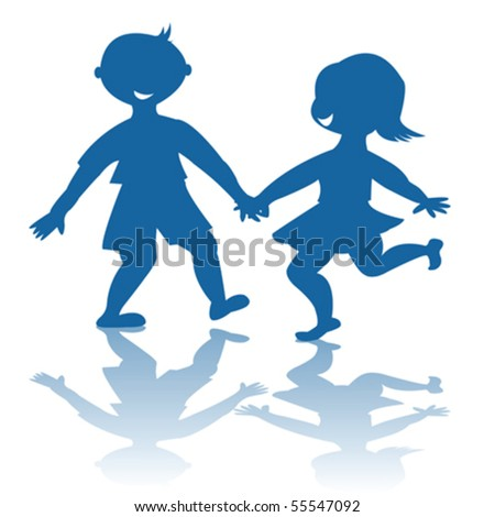Blue children smiling silhouettes - stock vector