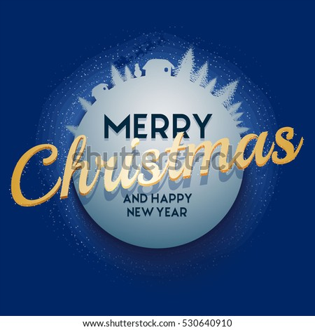 Blue Christmas and New Year greeting card with trees, snowflakes, santa, gold text