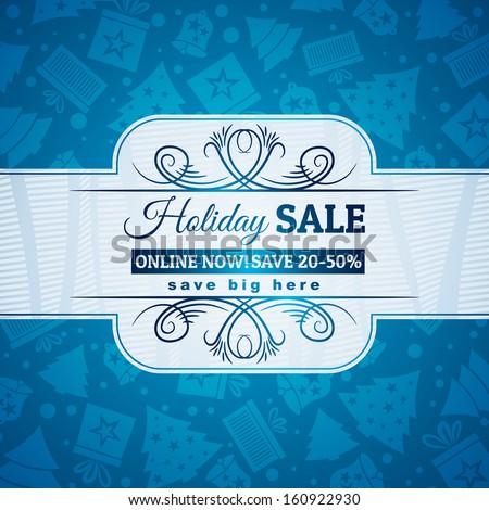 blue christmas background and label with sale offer, vector illustration - stock vector