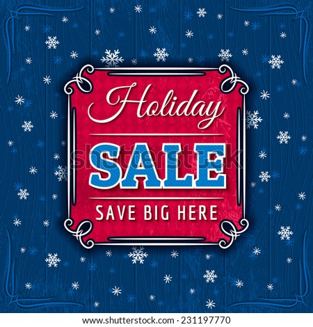 blue christmas background and sale offer, vector - stock vector