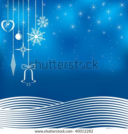 Blue Christmas background. Vector illustration. - stock vector