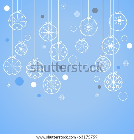 Blue christmas background with contour balls - stock vector