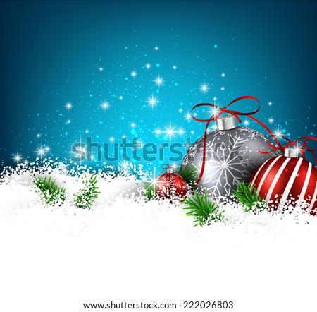 Blue christmas background with fir branches and balls. Vector illustration.