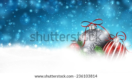 Blue christmas background with fir branches and balls. Vector illustration. - stock vector