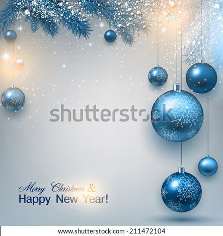 Blue Christmas background with fir twigs and balls. Xmas baubles.Vector illustration. - stock vector