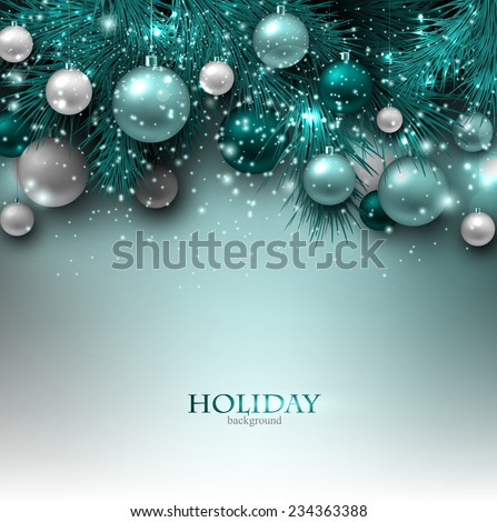 Blue Christmas background with fir twigs and balls. Xmas baubles.Vector illustration.