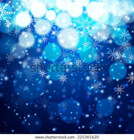 Blue Christmas background with light, bokeh and snowflakes. Vector illustration - stock vector