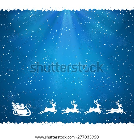 Blue Christmas background with Santa and falling snow, illustration. - stock vector