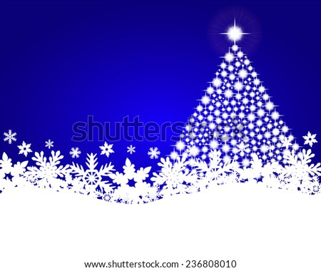 Blue christmas background with shiny Christmas tree  - stock vector