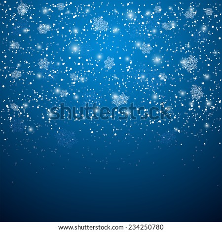 Blue Christmas background with snowflakes and blurry lights, illustration. - stock vector