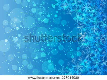 Blue Christmas background with snowflakes and circle with space for text