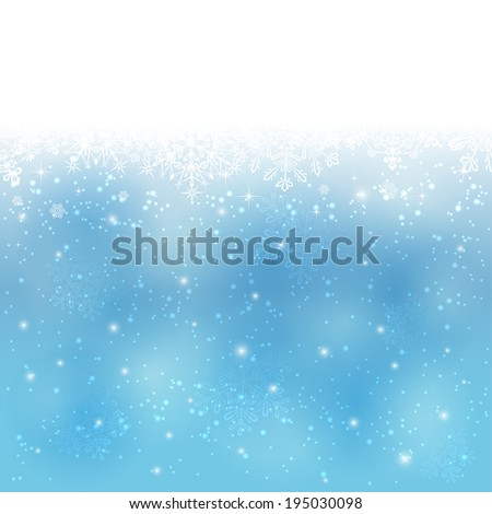 Blue Christmas background with snowflakes and falling snow, illustration. - stock vector
