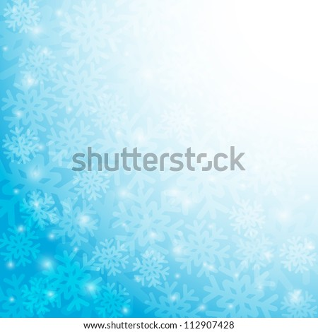 Blue Christmas background with snowflakes. Vector  illustration. - stock vector
