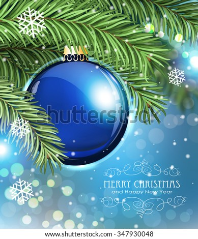 Blue Christmas ball and fir tree branches on a sparkling  holiday background. Festive Christmas background - stock vector