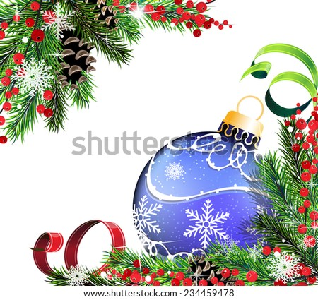 Blue christmas ball, cones, berries and fir tree branches on white background - stock vector