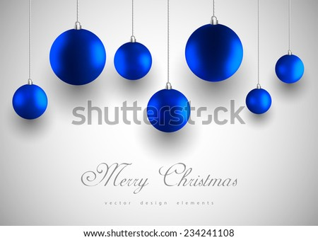 Blue christmas balls on the simple background.