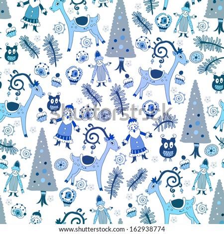 Blue Christmas card.Vector illustration. - stock vector