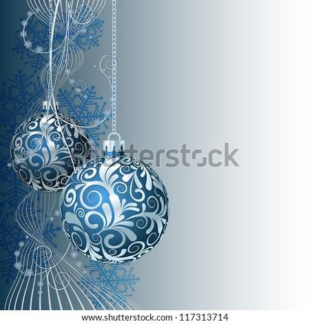 Blue Christmas card with Christmas balls and snowflakes - stock vector