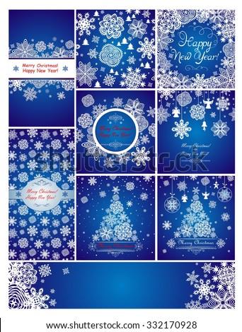 Blue christmas greetings - stock vector