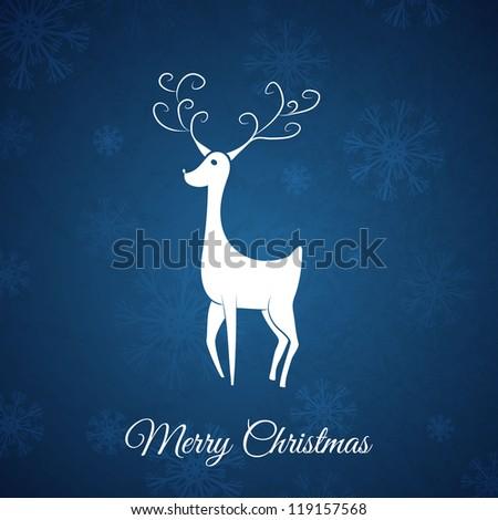 Blue Christmas postcard whit hand drawn christmas deer. - stock vector