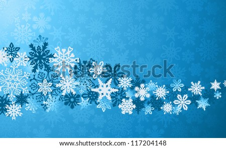 Blue Christmas snowflakes background. Vector illustration layered for easy manipulation and custom coloring. - stock vector