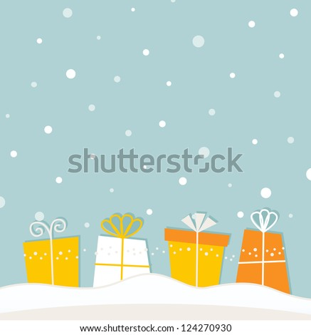 Blue christmas snowing background with gifts
