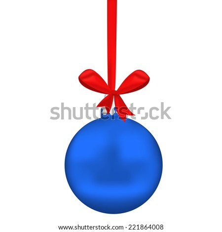 Blue Christmas sphere with tape and bow on white