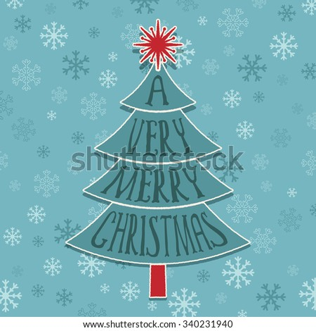 blue christmas tree greeting card decoration on snowflake background - stock vector