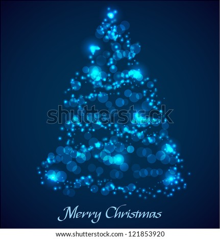 Blue christmas tree made ??of glowing particles. Vector illustration - stock vector