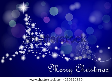 blue christmas tree with stars and snow - stock vector
