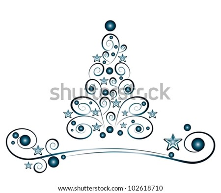blue christmas tree with stars - vector illustration