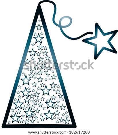 blue christmas tree with stars - vector illustration - stock vector