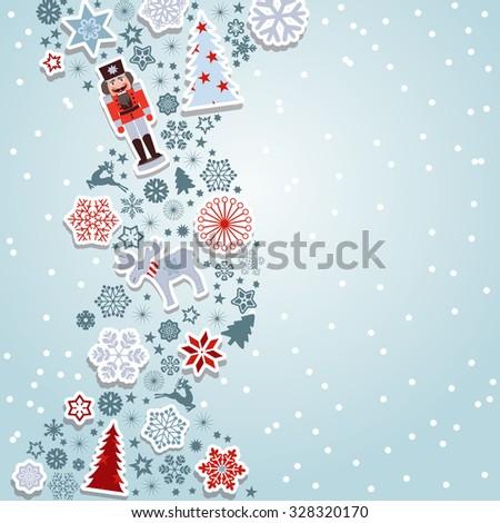 Blue Christmas vector. Merry Christmas. Christmas vector elements: Snowflakes, reindeer, nutcracker, christmas tree and moose. - stock vector