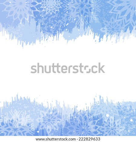 Blue Christmas watercolor background with snowflakes.