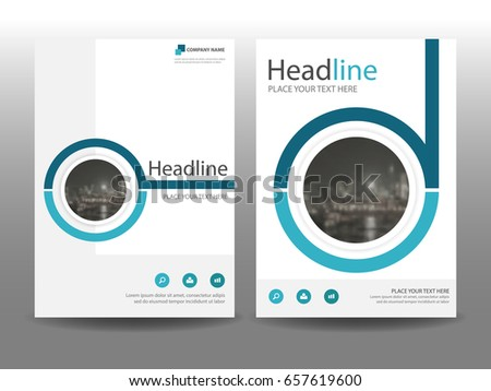 circle brochure template - blue circle flyer cover business brochure stock vector