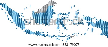 Blue circle shape Indonesia map on white background. Vector illustration.