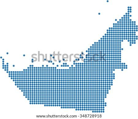 Blue circle shape United Arab Emirate on white background. Vector illustration. - stock vector