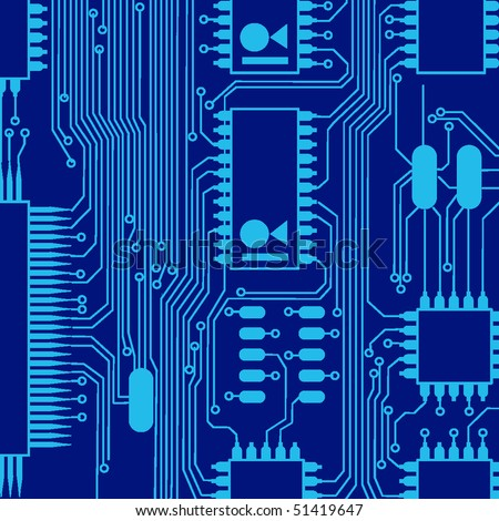 blue circuit board pattern - stock vector