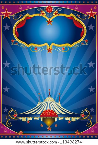 Blue Circus Night. A circus vintage poster with a stage and sunbeams for your advertising . - stock vector