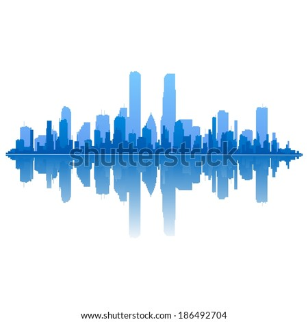 Blue cityscape - stock vector