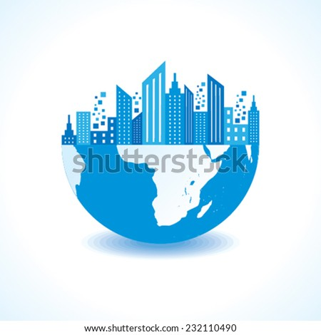 Blue cityscape on half earth stock vector - stock vector