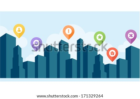 Blue cityscape silhouette background with map pins  - stock vector
