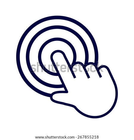 Blue click. hand icon pointer. vector - stock vector