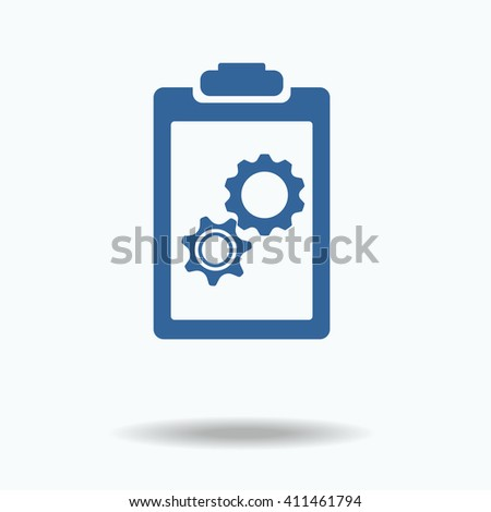 blue clipboard with blank paper, gears inside. team work.  - stock vector