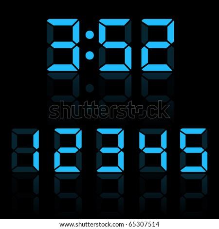 Blue Clock Digits - stock vector