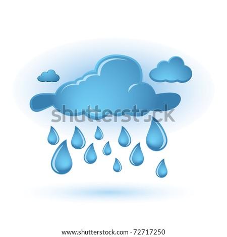 Blue cloud and drops - stock vector