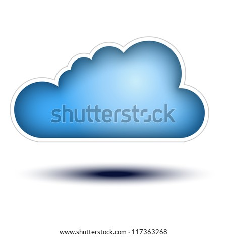 Blue Cloud Button Concept on white background Cloud Icon on white background, concept button full sized - stock vector