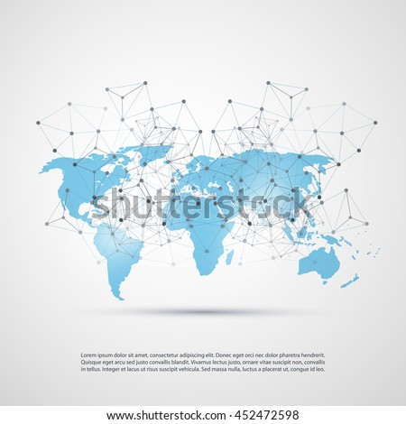 Blue Cloud Computing and Networks Concept with World Map - Global Digital Network Connections, Technology Background, Creative Design Template with Transparent Geometric Wire Mesh